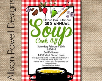 Soup Cookoff Party, Neighborhood Party, Couples Shower Printable Invitation