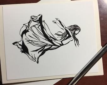 Flying - Original Ink Drawing Print - Note Card