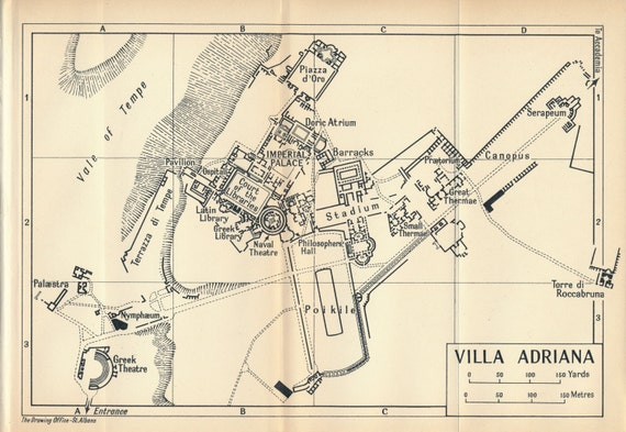 1956 Hadrians Villa Tivoli Italy Antique Map