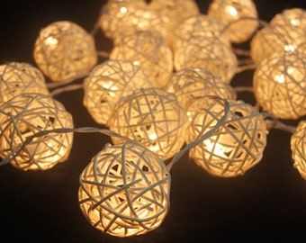 35 Bulbs On-Off Switch White Rattan ball string lights for Patio,Wedding,Party and Decoration