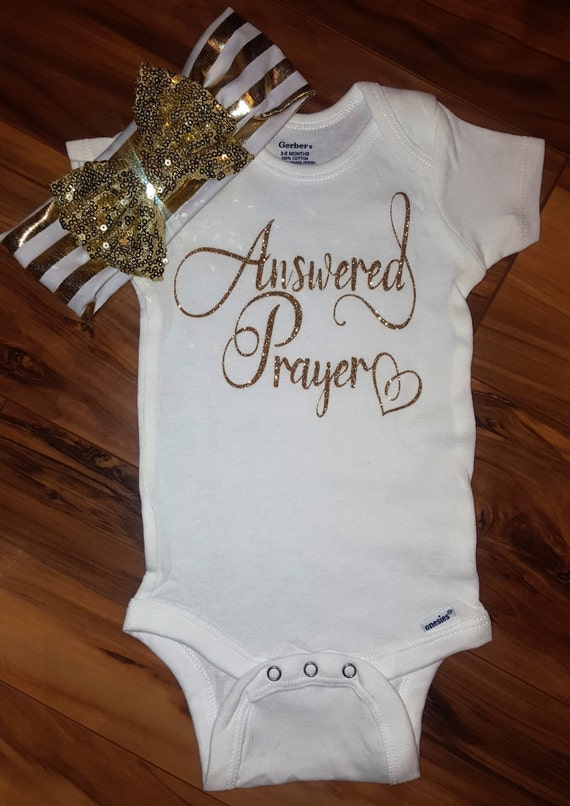 Answered Prayer Gold Sparkle Baby Girl Onesiegoing Home