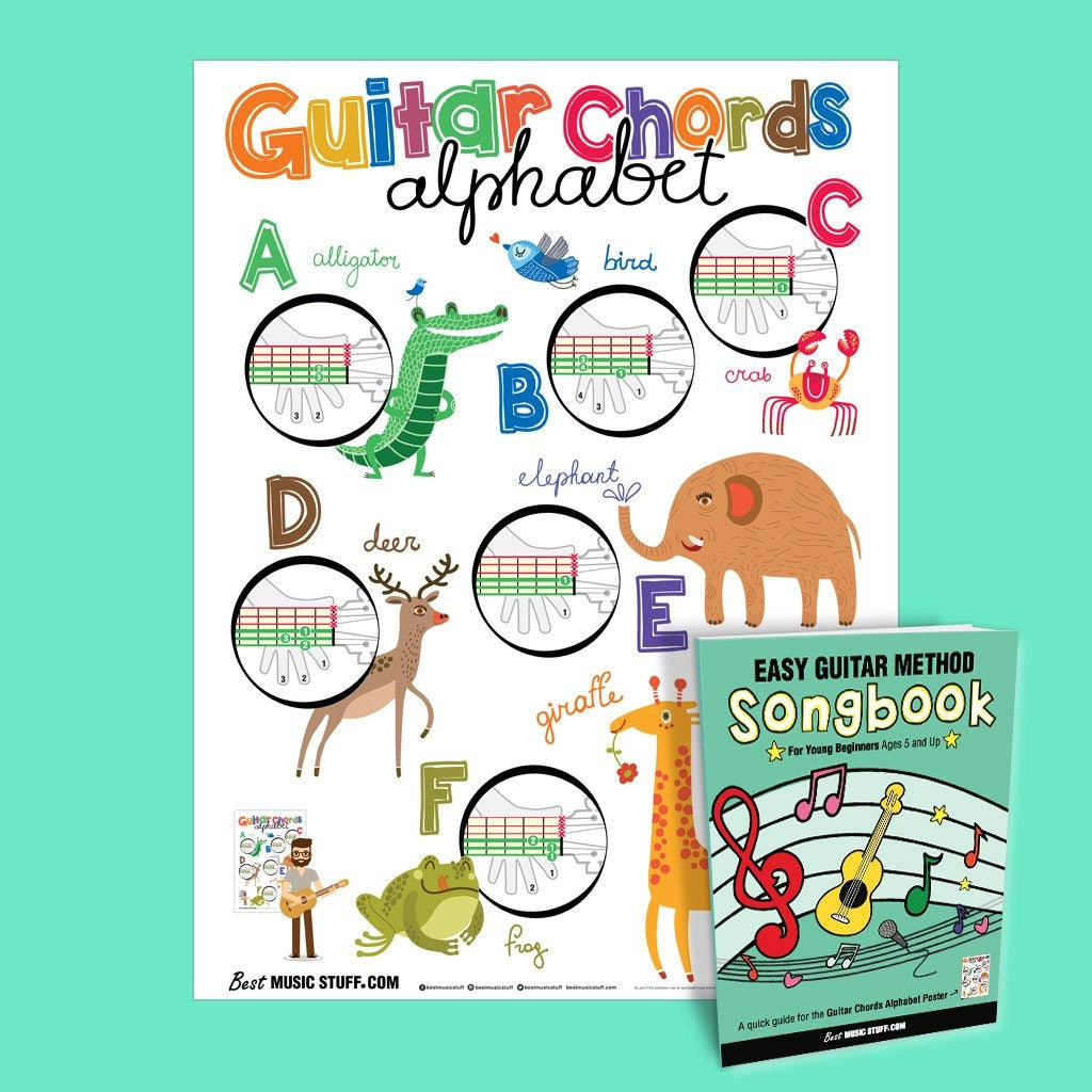 Guitar Chords Alphabet Kids Poster 18x24 Easy