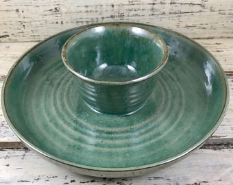 Pottery, Wheel Thrown Large Handmade Ceramic One-Piece Chip / Dip Platter