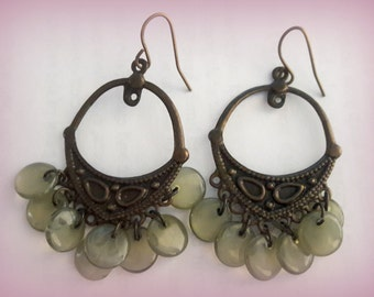 Vintage Ethnic Tribal Brass and Faux Adventurine Earrings