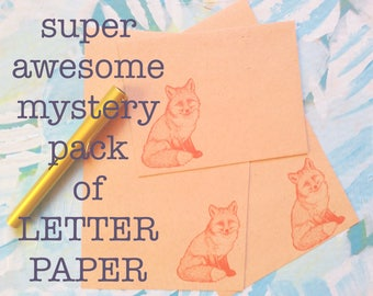 super awesome mystery pack of letter paper for writing your pen pals on crazy mismatched paper. grab bag. RANDOM. surprise. seconds. fun.