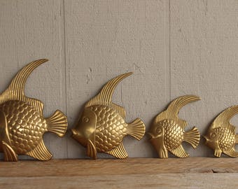 Solid Brass Angel Fish Set Of 4 Bathroom Wall Plaques Decor