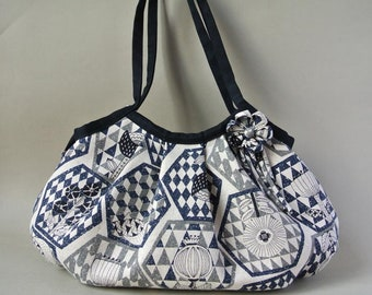 Zippered Large Granny Bag, Linen&Cotton Flower geometric