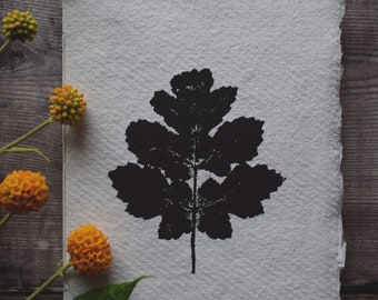 Hand bound and printed notebook: Leaf