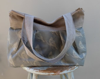 Blackbird Blue Duffle Bag - Raw Linen - 3 Pockets - Hard Bottom