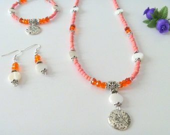 Sand Dollar Charm Jewelry Set with Orange Crystal Beads
