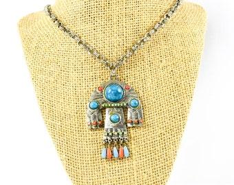 Vintage Mexican Necklace Pendant - Capri Pendant - Vintage Pendant - Statement Necklace - Gift for her - Mom Gift - Fashionista Gift - Rare