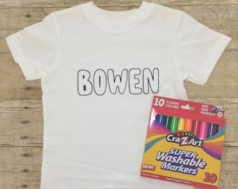 Personalized Color Me T-Shirt Kid's Coloring Shirt Wash and Re-Use Coloring Shirts Washable Coloring Tee Gifts for Kid's Arts and Crafts