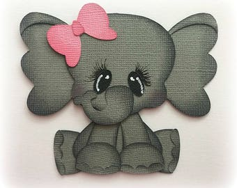 Adorable baby  elephant animal  premade paper piecing 3d die cut by my tear bears kira
