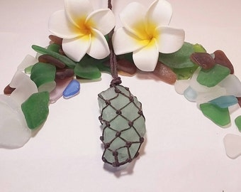 Hawaiian Seafoam Sea Glass Netted Macrame Necklace