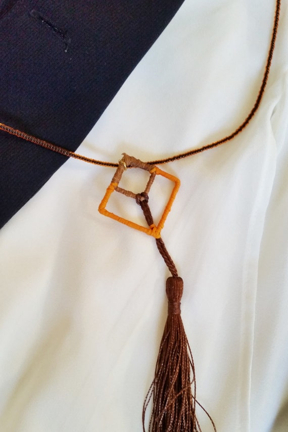 Geometric Necklace, Square Necklace, Geometry Pendant, Beach Necklace, Gypsy Necklace, Hippie Necklace, Geometry Jewelry, orange & brown