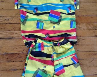 1980's two piece shorts and shirt top combo USA medium