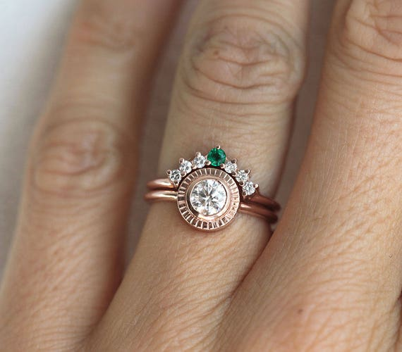 Half Carat Diamond Ring Diamond Sun Ring Rose Gold Diamond