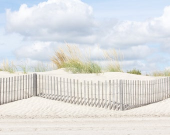 Coastal Beach Art, Dune Fence Photograph with Beach Grass and Sand Dune, Blue, Gray, Green, Landscape Photography, Coastal Bedroom Print