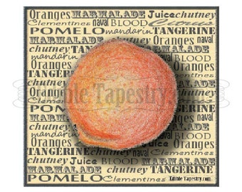 Orange Typography Printable JPG Fruit Watercolor Layered Citrus Infographic Mixed Fonts Clementine Tangerine Navel