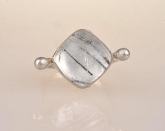 Tourmilinated quartz ring, sterling silver, fine silver, Roman inspired
