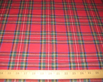 """Red/Royal Stewart plaid 100% cotton flannel fabric 58"""" wide sold by the yard"""