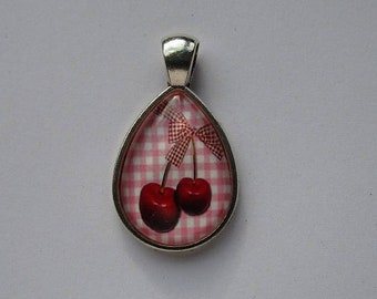 support + cherries on pink gingham, 18x25mm Teardrop shape cabochon
