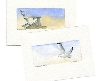 Two Original Hand Painted Art Cards - Seascape Scenery