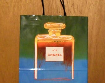 Vintage 1990s Andy Warhol Chanel No. 5 Perfume Promotional Large Green Paper Shopping Bag Designer Fragrance Collectible