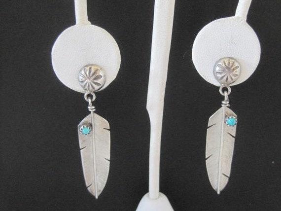 Native American Earrings, Sterling Turquoise Feathers, Pierced Earrings
