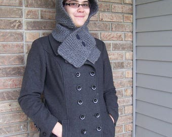 Knight Style Hooded Scarf--Hand Knit