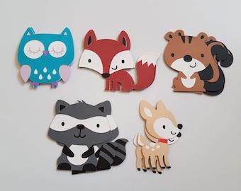 Set of 10 Woodland Critters, Woodland Die Cuts, Fox, Deer, Owl, Squirrel, Raccoon