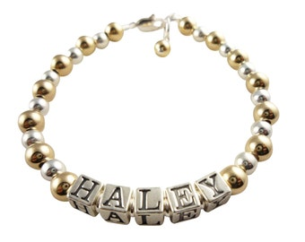 Gold and Silver and Swarovski pearl Girl's Name Bracelet - custom personalized gift for girl