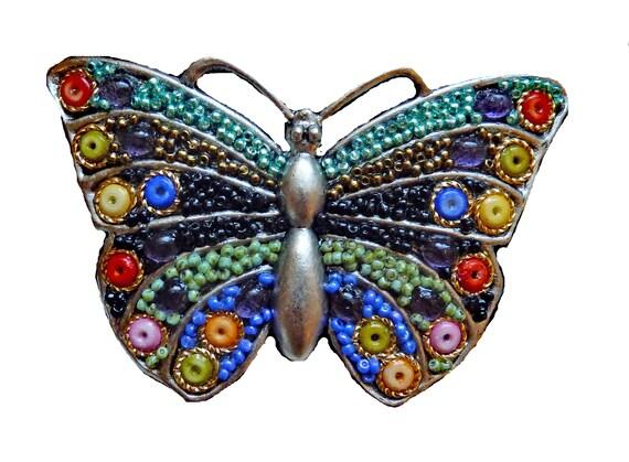 Butterfly Beaded Belt Buckle