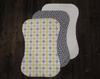Set of 3, Flannel Ragged Edge Burp Cloth, Contoured, Gender Neutral, Gray and Yellow, Baby Shower Gift