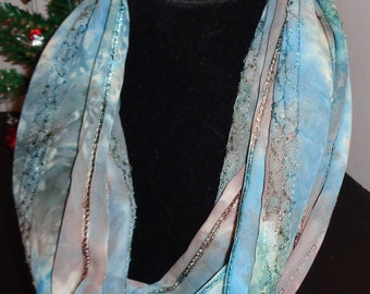 Summer Weight variegated Teal & Brown Print Infinity Scarf, Made in USA