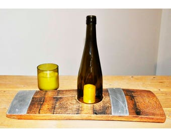 Barrel Stave SOLO Candle Holder with a cut bottle chimney. Made from retired oak wine barrel