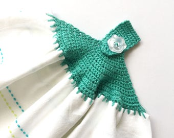 Crocheted Tea Towel - Blue and Green with Flowers - Crochet Pattern Kitchen Dish Towel - CTEA22