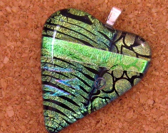 Green Dichroic Heart Pendant Fused Glass Pendant Dichroic Jewelry Glass Pendant