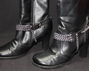 Ladies Leather and Multi Chain Boot Straps Pair (2) Spike Heels, Goth, Rock, Metal, Biker, BDSM, Club Wear, Boot Jewelry B6
