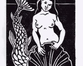 Mermaid and Shell lino print