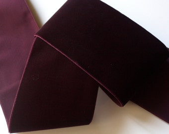 """Velvet  Ribbon , 3"""" x 1 yd Color - Plum/Eggplant Made in Switzerland - See Below for yardage"""