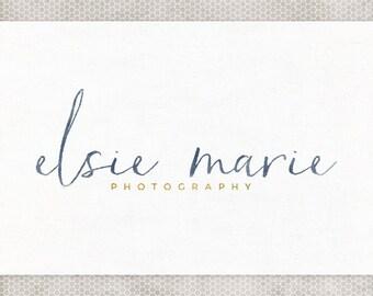 Premade Logo Design | Business Logo Design | Photography Branding | Premade Blog Header | Blue Watercolor | Modern Typography
