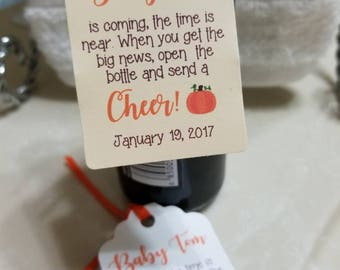 "Personalized Favor Tags 2.5""L x1.8""wThank You tags, Favor tags, Gift tags, cheers, baby boy favor tag, baby shower favor tag, wine favor tag"