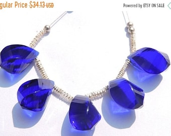 25% OFF Summer Sale 5 Pcs Set Outrageous Cobalt Blue Quartz Faceted Twisted Drops Briolette Size 19*10 MM