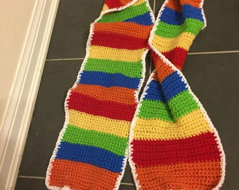 Rockets rainbow candy knitted scarf