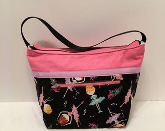 "LIP13- Lunch Bag: ""Keeping On Your Toes"" washable insulated lunch bag with zippered front pocket and zippered top closure."