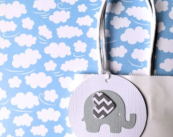 Baby Elephant gift tags. Light Grey & White. First Birthday party favors, baby shower, thank you gifts, new baby. Grey chevron elephant.