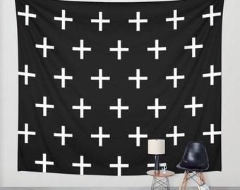 Swiss Cross Tapestry, Wall Tapestry, Dorm Decor, Horizontal Wall Art, Teen Room Decor, Boys Room Decor, Mens Gift, Mens Room Decor