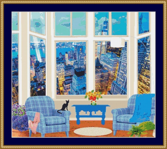 Cat Looking At The City Lights Cross Stitch Pattern /Digital PDF Files /Instant downloadable