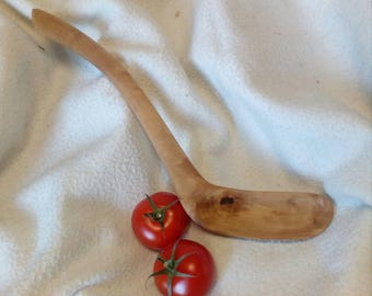 olive wooden cooking spoon, hand-carved spoon carving, with curved steel